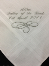 Gents Personalised Handkerchief, father of the bride.